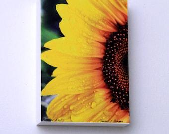 Sunflower Decor, Yellow Flower, Kitchen Art, Floral Decor, 5X7 Wood Panel, Small Wall Art, Ready to Hang