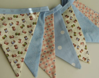 Pastel fabric bunting - cotton reels and hearts in gorgeous pastels - ideal for garden parties, afternoon tea, weddings, birthday parties