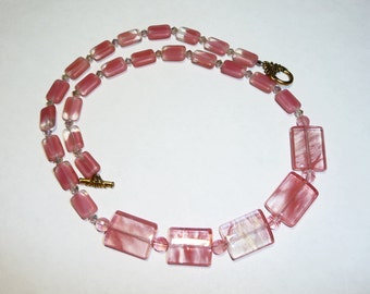 Faux Strawberry Quartz and Swaorvski Crystal Necklace on Etsy