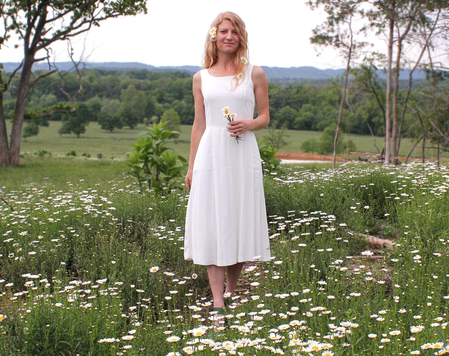Casual Hippie Wedding Dress Summer Beach Wear Ivory Cream