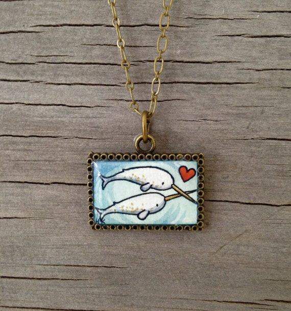 Narwhal Love, Heart - Hand Painted Necklace, Original Watercolor - Wearable Art Pendant