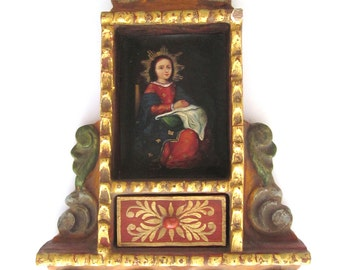 Religious Art Retablo Religious Shrine Miniature Oil Painting of Jesus