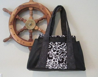 EVERYTHING ON SALE clearance priced - Black Leather Jacket Handbag - Tote - Purse