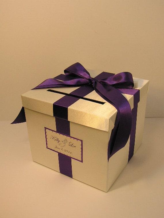 Purple Wedding Gift Card Box : Ivory and Purple Wedding Card Box Gift Card Box Money Box Holder ...