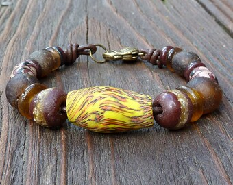Yellow Recycled Glass Bracelet - Yellow Recycled Glass Krobo Beads, Brown Recycled Glass Beads, Brown Leather Bracelet