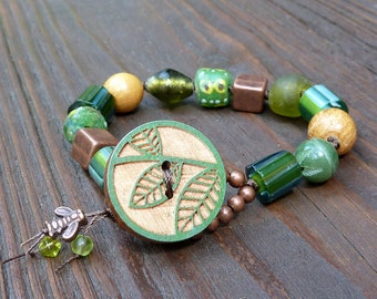 Leaf Mixed Media Bracelet - Green Recycled Glass Beads, Copper Beads, Cane Glass Beads, Wood Beads, Wood Leaf Button