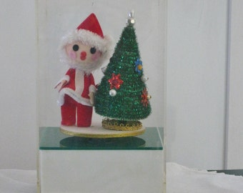 Vintage Christmas Music Box Red Felt Santa Suit Garland Christmas Tree Berman And Anderson Acrylic Plastic Box Santa Claus is Coming to Town