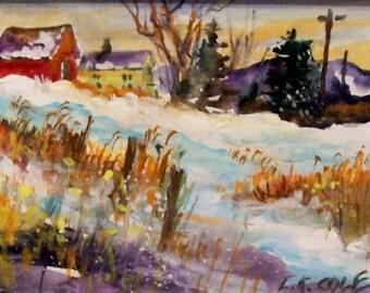 SNOWDAY...........5x7 original on canvas acid free board,    unframed....on sale......