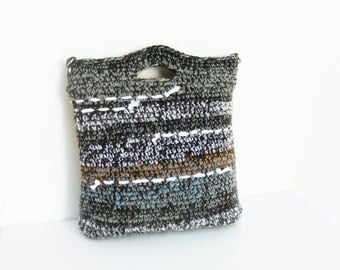 Striped Crochet Bag with Leather Strap, Grey, Black and White