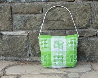 Cubes Purse - Smocked Gingham Apple Green and White