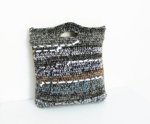 Leather Crochet Bag : Striped Crochet Bag with Leather Strap Grey Black and by StarBags