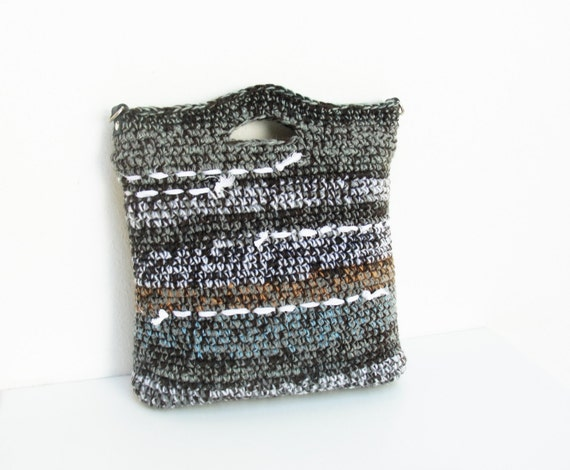 Crochet Bag Strap : Striped Crochet Bag with Leather Strap Grey Black and by StarBags