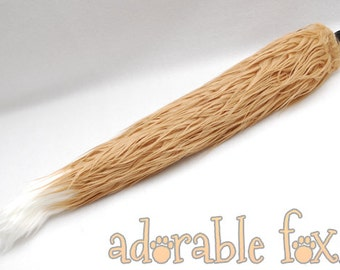 Faux Fur Fox Tail - Shaggy Tan Monster - Cosplay / Furry / Costume