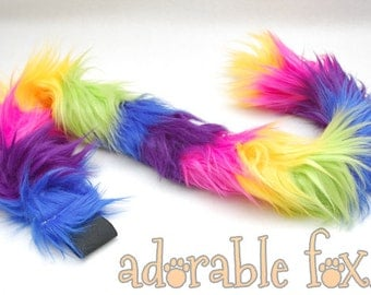 Faux Fur Cat Tail - Rainbow - Cosplay / Furry / Costume