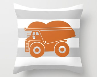Dump Truck ORANGE Gray and White Stripe Throw Pillow Cover Case 16X16 or 18x18 Or 20x20 Hidden Zipper
