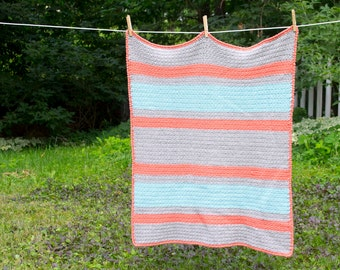 Striped Crochet Baby Blanket- Superwash Wool- Soft Wool Blanket- Baby Shower Gift- Choose Your Colors