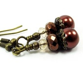 End of Summer SALE Antiqued Bronze Brass Beaded Earrings -Copper Brown Pearls and Crystals