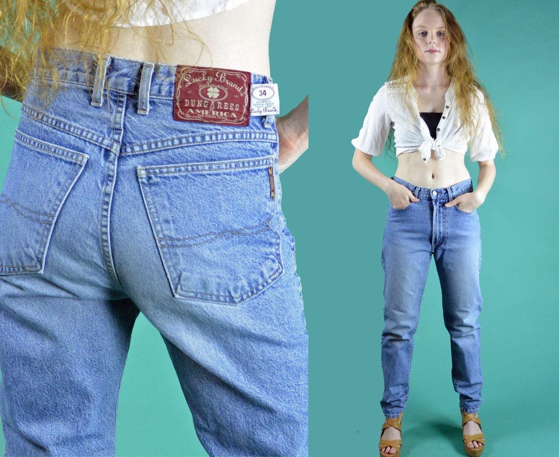 80er jahre hoch taillierte jeans kegel jeans lucky brand norma. Black Bedroom Furniture Sets. Home Design Ideas