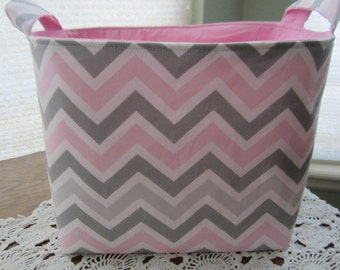 Large Fabric Organizer Container Storage basket Chevron Grey & Pink Zig Zag