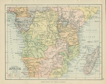 1895, Southern Africa Map, Cape Colony, Natal, Victorian Antique Map, World Map Page 33, School Atlas, Library Decor