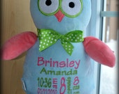 Personalized Stuffed Animal - Owl