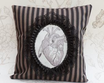 Steampunk pillow gothic anatomical heart steampuk victorian pillow cushion black  brown stripes macabre halloween home decor