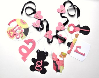 Baby shower banner pink and black floral it's a girl decorations by ParkersPrints on Etsy