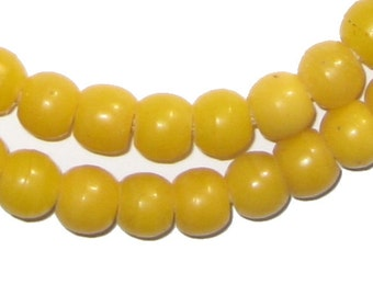 65 Amber Round Padre Beads - Yellow African Beads - Made in Ethiopia ** (PADR-RND-YLW-210)