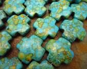 "Turquoise Blue Mosaic Magnesite Cross, Beads 20x20mm, 16"" strand"