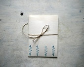 greeting card nature notecard with plant in blue,  linocut card with envelope -