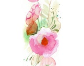 50% Off SALE - Flower Band -  Watercolor Painting - Abstract Floral - Pink - Peony - Illustration - 8 x 10 Giclee Print - Home Decor