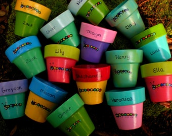 Painted Flower Pots - Kids Party Favors - Baby Shower Favors - Wedding Favors - Party Favors