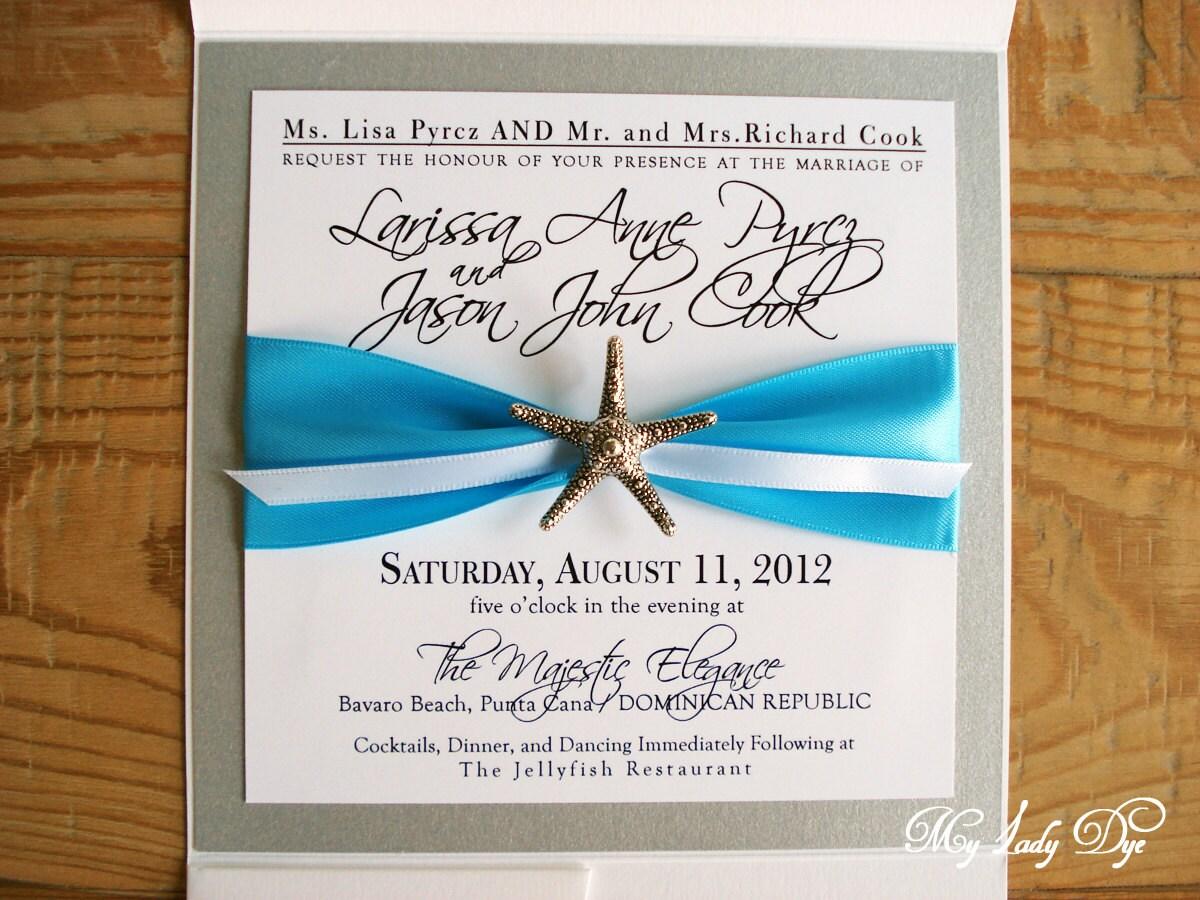 Black And Silver Wedding Invitations: 100 Starfish Wedding Invitations White Silver Black By