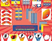 Super Hero Theme Printable Party Package - Printable File - Printable Super Hero Birthday Party - Hero Party - Super Hero Birthday Party