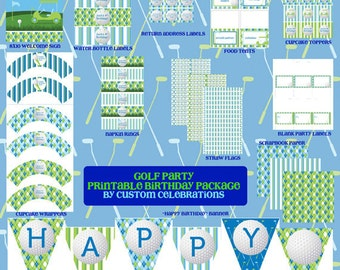 Golf Theme Printable Party Package - Digital Printable File - Printable Golf Birthday Party - Golfer Birthday Party