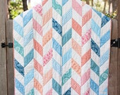 Baby Patchwork Quilt - Turquoise and Coral Herringbone