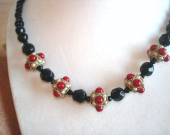 Jet Black Faceted  Glass Beaded Carnelian Color  Stone in Repousse  Silver  Necklace