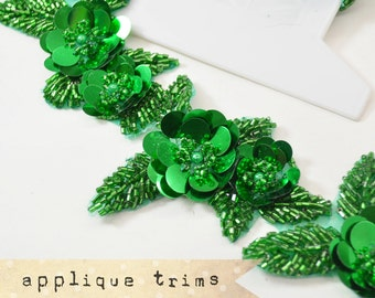 1pcs GREEN Beaded Jewel Applique - millinery, fascinator headbands, sewing supplies, DIY Supplies, vintage style