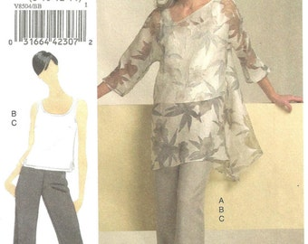 vogue v8504 Tunic kimono sleeve slash neck off center sz 8-14 uncut FF 2008
