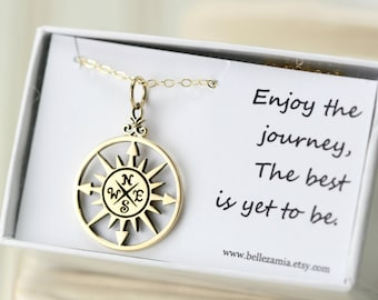 Compass Necklace - Graduation gift - Enjoy the Journey - Gold Compass Travel Jewelry - Good Luck Charm
