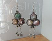 """2 1/2"""" Multi-Colored 80's Hippie Agate Silver Earrings. Long Dangling Bohemian Style Stone Earrings"""