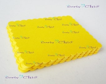 "60 Scalloped Rectangle Tags Size 2.5"" x 2.00"" -Paper Scalloped Rectangle Labels -Paper die cuts -Scalloped Rectangle Paper Labels"