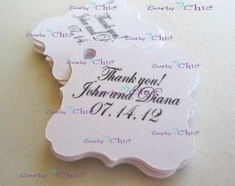 """35 Personalized Square Brackets Size 1.50""""x1.50"""" -Custom Square Bracket Labels -Paper Bracket tags -Paper die cuts -Cardstock Labels"""