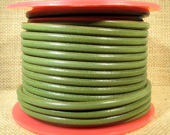 Premier Italian Leather - 5mm Round - Olive Green - 5RPI-15 - Choose Your Length