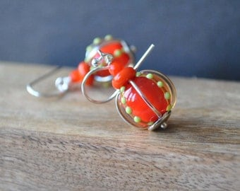 Bright Orange Lampwork Earrings, Glass Earrings, Lime Green Polka Dot Earrings