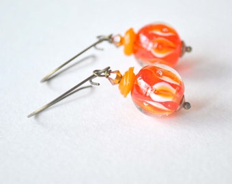 Sale Orange Autumn Swirled Lampwork Glass Earrings