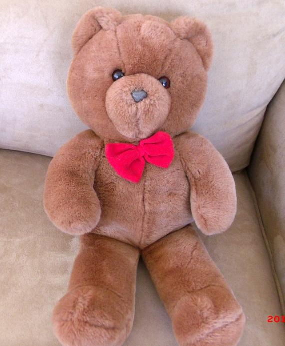 1986 Dakin Teddy Bear Red Bow Tie 20 Inch Tag Ted Bear Plush