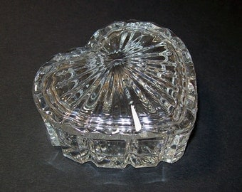 Vintage crystal heart shaped trinket box vintage trinket for Heart shaped jewelry dish