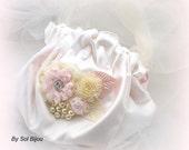 Drawstring Bag, Flower Girl Purse, Ivory, Cream, Pink, Handbag, Tulle, Crystals, Satin Bag, Pearls, Elegant, Vintage Inspired
