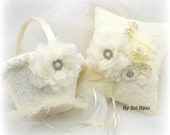 Flower Girl Basket, Wedding Ring Pillow, Ivory, Cream, White, Vintage Wedding, Gatsby, Elegant, Ring Bearer Pillow, Pearl Handle, Lace